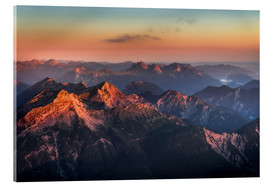 Akrylbillede  Alps Panorama from Zugspitze at Sunrise - Andreas Wonisch
