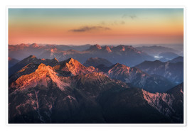 Premium-plakat Alps Panorama from Zugspitze at Sunrise