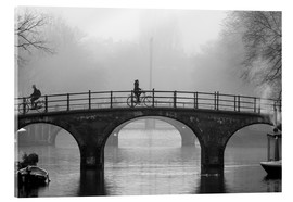 Akrylbillede  Amsterdam canal in black and white - George Pachantouris