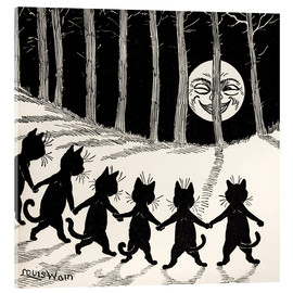 Akrylbillede  Cats at full moon - Louis Wain