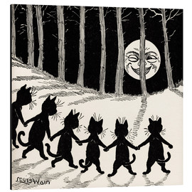 Print på aluminium  Cats at full moon - Louis Wain