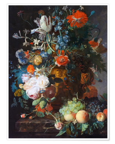 Premium-plakat Still Life with Flowers and Fruit
