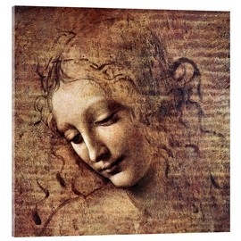 Akrylbillede  Head of a Young Woman with Tousled Hair (La Scapigliata) - Leonardo da Vinci