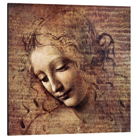 Print på aluminium  Head of a Young Woman with Tousled Hair (La Scapigliata) - Leonardo da Vinci