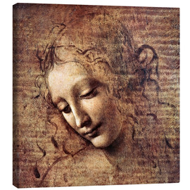 Lærredsbillede  Head of a Young Woman with Tousled Hair (La Scapigliata) - Leonardo da Vinci
