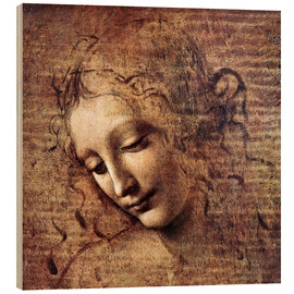Print på træ  Head of a Young Woman with Tousled Hair (La Scapigliata) - Leonardo da Vinci