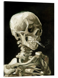 Akrylbillede  Skull of a Skeleton with Burning Cigarette - Vincent van Gogh