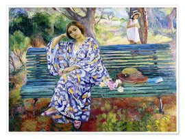 Premium-plakat Young woman sitting on a bench