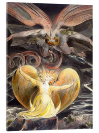 Akrylbillede  The Great Red Dragon and the Woman Clothed with the Sun - William Blake