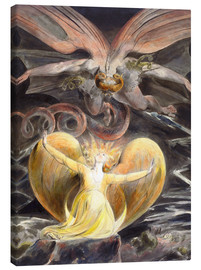 Lærredsbillede  The Great Red Dragon and the Woman Clothed with the Sun - William Blake