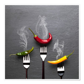 Premium-plakat steaming colorful chili peppers