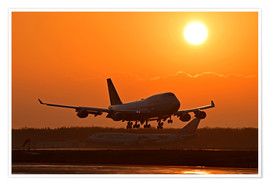 Premium-plakat Landing a Beoing B747-400 in the sunset