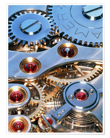Premium-plakat Internal cogs and gears of a 17-jewel Swiss watch