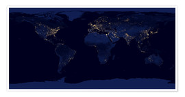 Premium-plakat  Earth at night - NASA