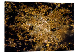 Akrylbillede  Paris by night from above - NASA