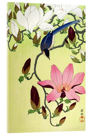 Akrylbillede  Magpie with Pink and White Magnolia Blossoms - Ohara Koson