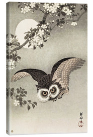 Lærredsbillede  Scops Owl in Flight, Cherry Blossoms and Full Moon - Ohara Koson