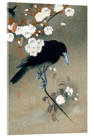 Akrylbillede  Crow and Cherry Blossoms - Ohara Koson