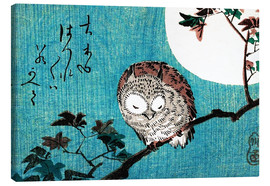 Lærredsbillede  Small Horned Owl on Maple Branch under Full Moon - Utagawa Hiroshige