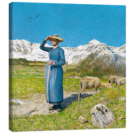 Lærredsbillede  Lunch in the Alps - Giovanni Segantini