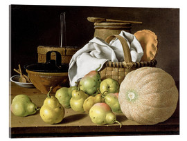 Akrylbillede  Still Life with Melon and Pears - Luis Egidio Meléndez