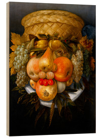 Print på træ  Portrait of a man from fruits - Giuseppe Arcimboldo