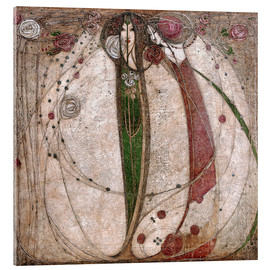 Akrylbillede  The White Rose And The Red Rose - Margaret MacDonald Mackintosh