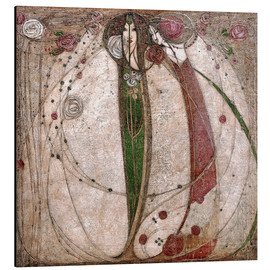 Print på aluminium  The White Rose And The Red Rose - Margaret MacDonald Mackintosh