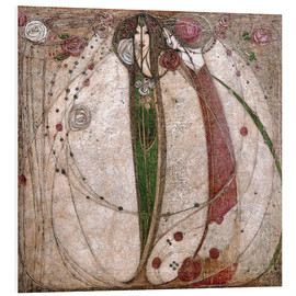 Print på skumplade  The White Rose And The Red Rose - Margaret MacDonald Mackintosh