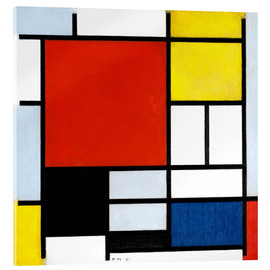 Akrylbillede  Composition with Large Red Plane, Yellow, Black, Gray and Blue - Piet Mondriaan