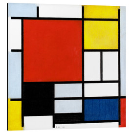 Print på aluminium  Composition with Large Red Plane, Yellow, Black, Gray and Blue - Piet Mondriaan