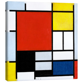 Lærredsbillede  Composition with Large Red Plane, Yellow, Black, Gray and Blue - Piet Mondriaan