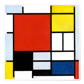 Premium-plakat  Composition with Large Red Plane, Yellow, Black, Gray and Blue - Piet Mondriaan