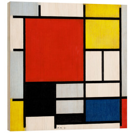 Print på træ  Composition with Large Red Plane, Yellow, Black, Gray and Blue - Piet Mondrian