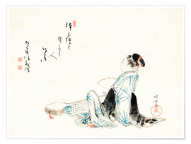 Premium-plakat Beauty awaiting a lover (poem inscribed by Hakujubo)