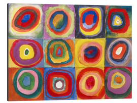 Print på aluminium  Colour study - squares and concentric rings - Wassily Kandinsky