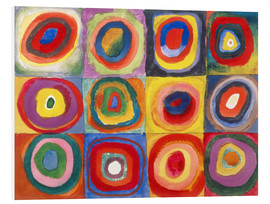 Print på skumplade  Colour study - squares and concentric rings - Wassily Kandinsky