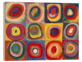 Print på træ  Colour study - squares and concentric rings - Wassily Kandinsky