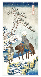Premium-plakat  Poet travelling in the snow - Katsushika Hokusai