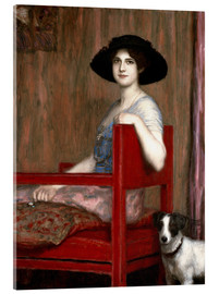 Akrylbillede  Mary von Stuck in a red chair - Franz von Stuck