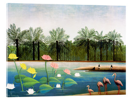 Akrylbillede  The Flamingoes - Henri Rousseau