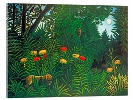Akrylbillede  Exotic Landscape with Tiger and Hunters - Henri Rousseau