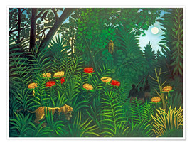 Premium-plakat  Exotic Landscape with Tiger and Hunters - Henri Rousseau