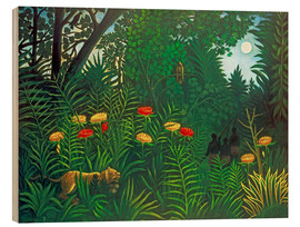Print på træ  Exotic Landscape with Tiger and Hunters - Henri Rousseau