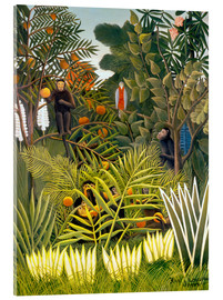 Akrylbillede  Monkeys and Parrot in the Virgin Forest - Henri Rousseau