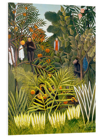 Print på skumplade  Monkeys and Parrot in the Virgin Forest - Henri Rousseau
