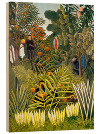 Print på træ  Monkeys and Parrot in the Virgin Forest - Henri Rousseau