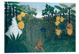 Print på skumplade  The meal of the lion - Henri Rousseau