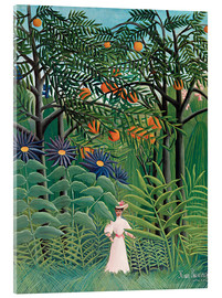Akrylbillede  Woman walking in an exotic forest - Henri Rousseau