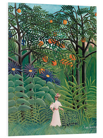 Print på skumplade  Woman walking in an exotic forest - Henri Rousseau